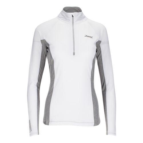 Womens Zoot Ocean Side 1/2 Zip Long Sleeve Technical Tops - White/White Stripe M