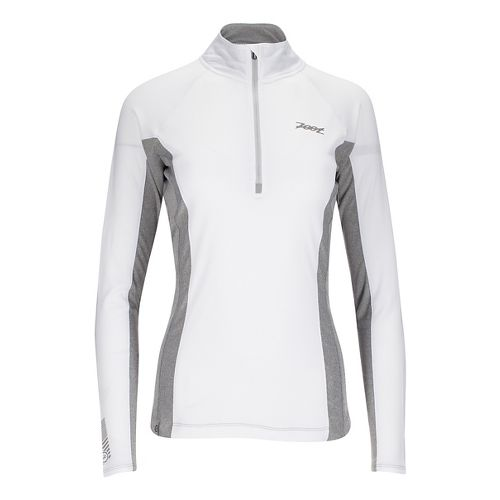 Womens Zoot Ocean Side 1/2 Zip Long Sleeve Technical Tops - White/White Stripe XL