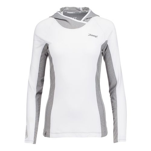 Womens Zoot Ocean Side Hoodie Long Sleeve Technical Tops - White/White Stripe L