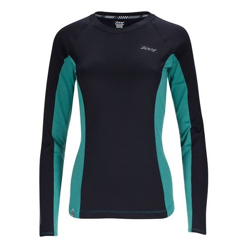 Womens Zoot Ocean Side Long Sleeve Technical Tops - Black/Aqua Stripe L