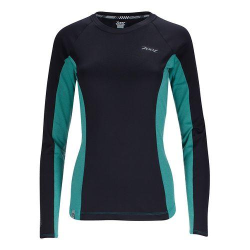 Womens Zoot Ocean Side Long Sleeve Technical Tops - Black/Aqua Stripe M