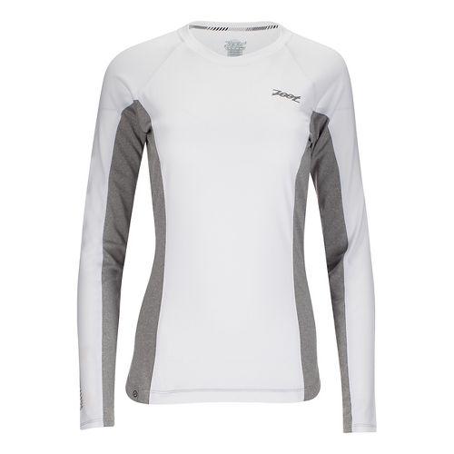 Womens Zoot Ocean Side Long Sleeve Technical Tops - White/White Stripe L