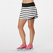 Womens Road Runner Sports PowerPlay Striped Skort Fitness Skirts - White/Black XL