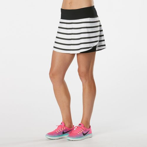 Womens Road Runner Sports PowerPlay Striped Skort Fitness Skirts - White/Black XS