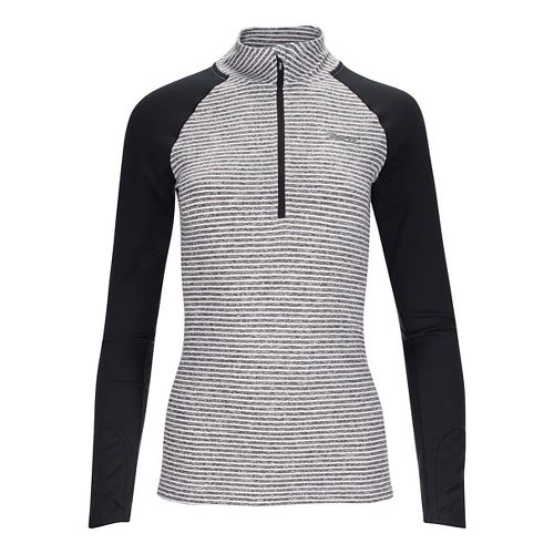 Womens Zoot Liquid Core 1/2 Zip Long Sleeve Technical Tops - White Stripe/Black M