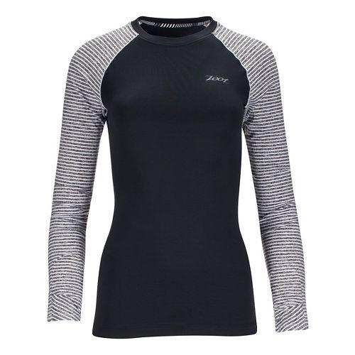 Womens Zoot Liquid Core Long Sleeve Technical Tops - Black/White Stripe M