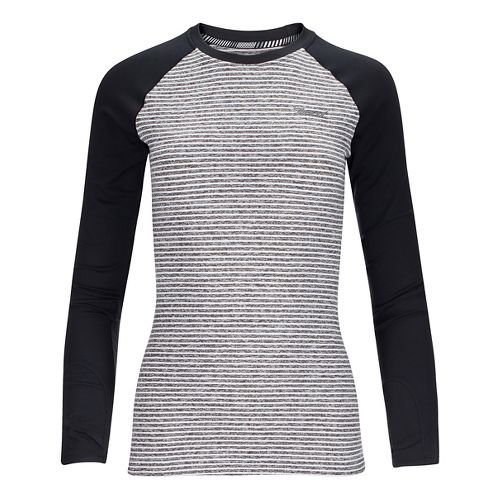 Womens Zoot Liquid Core Long Sleeve Technical Tops - White Stripe/Black L