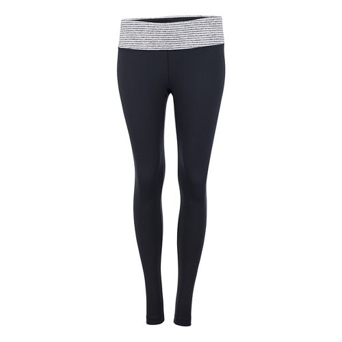 Womens Zoot Liquid Core Tights & Leggings Pants - Black/White Stripe L