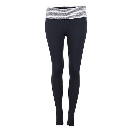 Womens Zoot Liquid Core Tights & Leggings Pants - Black/White Stripe XL