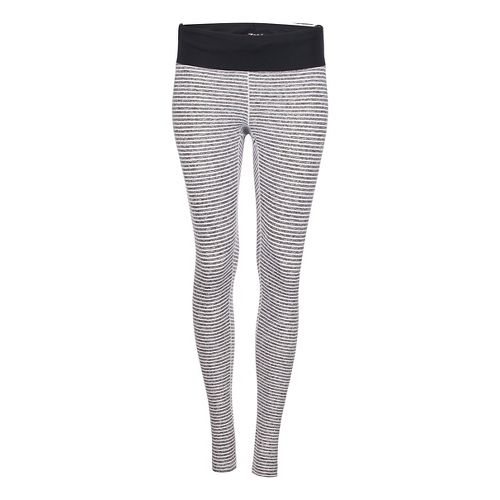 Womens Zoot Liquid Core Tights & Leggings Pants - White Stripe/Black L