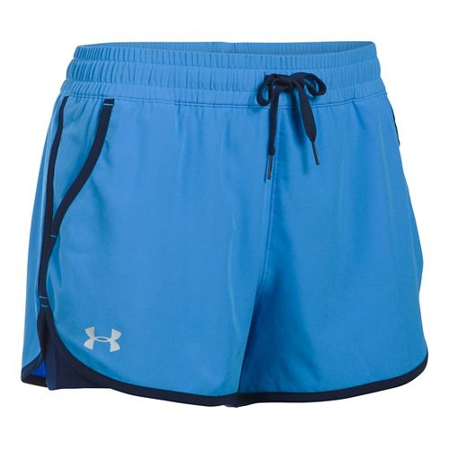 Womens Under Armour 2X Rally 2-in-1 Shorts - Water/Midnight Navy XS