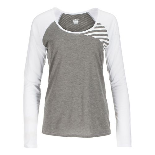 Womens Zoot Sunset Ink Long Sleeve Technical Tops - Graphite/White L