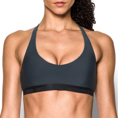 Womens Under Armour Low Strappy Sports Bras - Stealth Grey XS