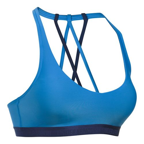 Womens Under Armour Low Strappy Sports Bras - Water/Midnight Navy M
