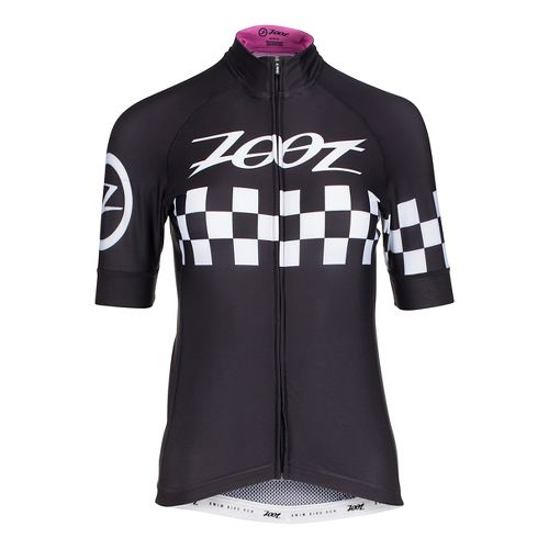 Womens Zoot Cycle Cali Jersey Short Sleeve Technical Tops - Paradise Checker S