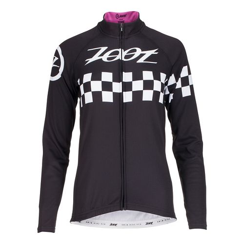 Womens Zoot Cycle Cali Thermo Jersey Long Sleeve Technical Tops - Paradise Checker L