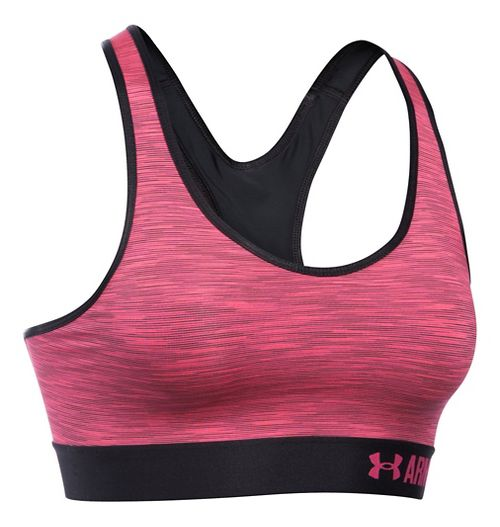 Womens Under Armour Mid Space Dye Sports Bras - Black/Pink Sky L