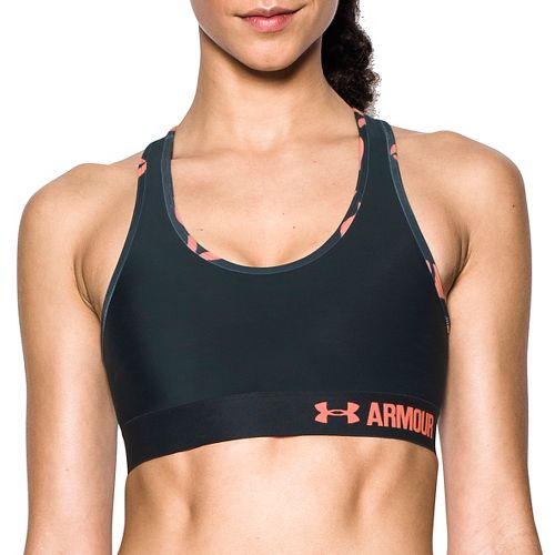 Womens Under Armour Mid Self Binding Sports Bras - Black/Charcoal M