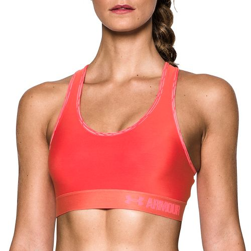 Womens Under Armour Mid Self Binding Sports Bras - Pomegranate M