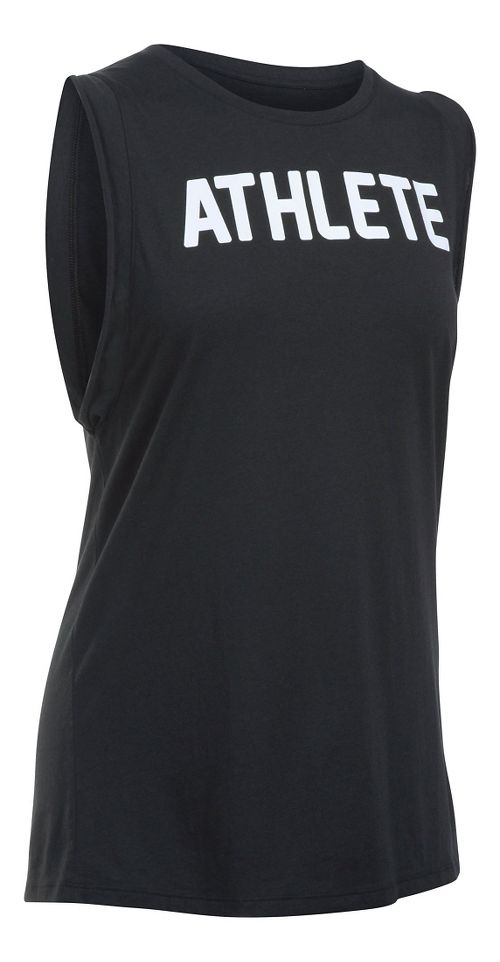 Womens Under Armour Athlete Muscle Sleeveless & Tank Technical Tops - Black/White XS