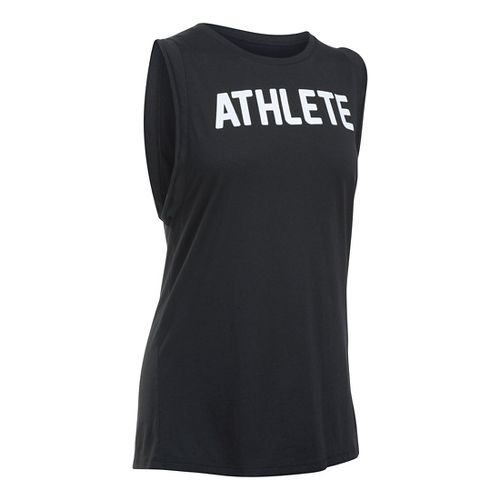 Womens Under Armour Athlete Muscle Sleeveless & Tank Technical Tops - Black/White L