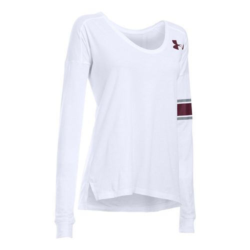 Womens Under Armour Basketball Cotton Modal Long Sleeve Technical Tops - White S