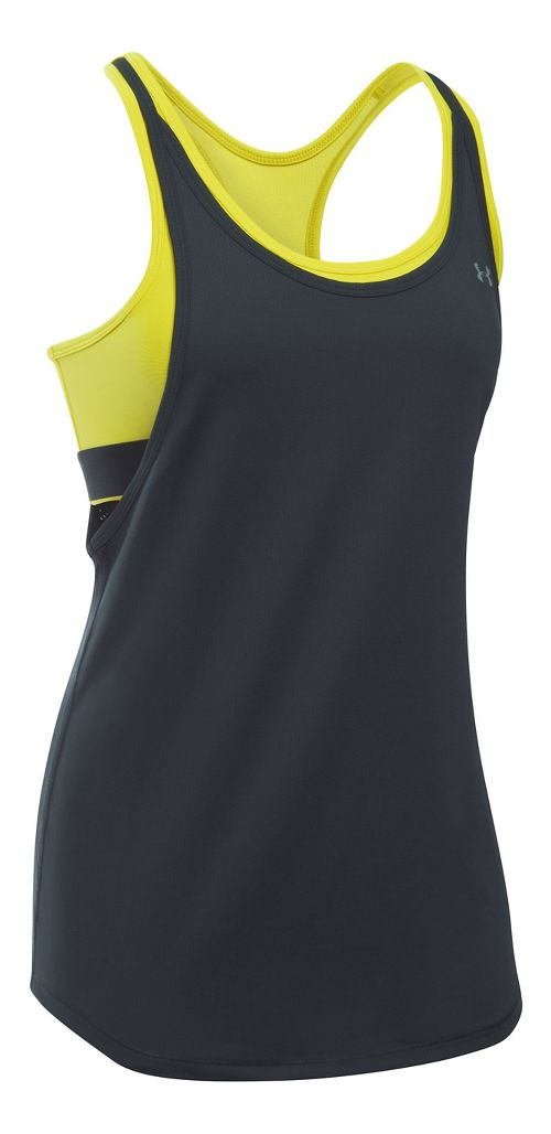 Womens Under Armour Heatgear 2-in-1 Sleeveless & Tank Technical Tops - Anthracite/Yellow S