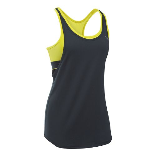 Womens Under Armour Heatgear 2-in-1 Sleeveless & Tank Technical Tops - Anthracite/Yellow M