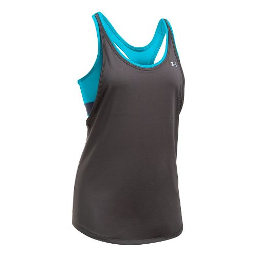 Womens Under Armour Heatgear 2-in-1 Sleeveless & Tank Technical Tops - Charcoal/Blues L