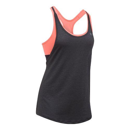 Womens Under Armour Heatgear 2-in-1 Sleeveless & Tank Technical Tops - Heather/Orange M