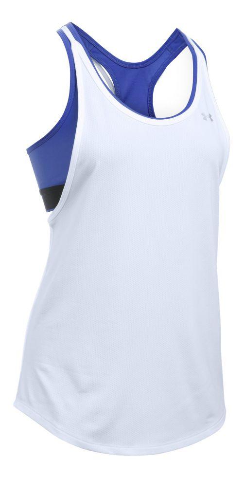 Womens Under Armour Heatgear 2-in-1 Sleeveless & Tank Technical Tops - White XL