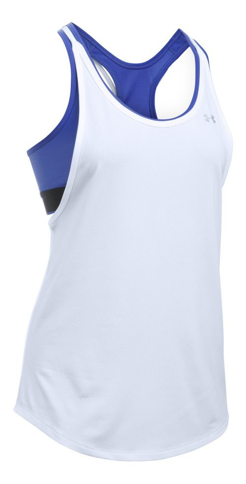 Womens Under Armour Heatgear 2-in-1 Sleeveless & Tank Technical Tops - White XS