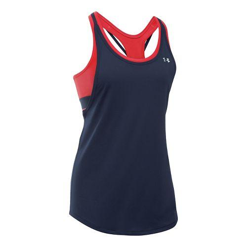 Womens Under Armour Heatgear 2-in-1 Sleeveless & Tank Technical Tops - Navy/Pomegranate L