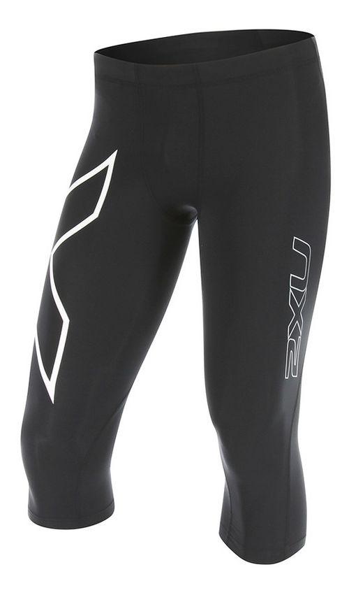 Mens 2XU 3/4 Compression Tights Compression Pants - Black/White L