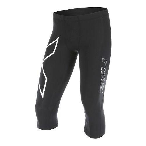 Mens 2XU 3/4 Compression Tights Capris Pants - Black/White L