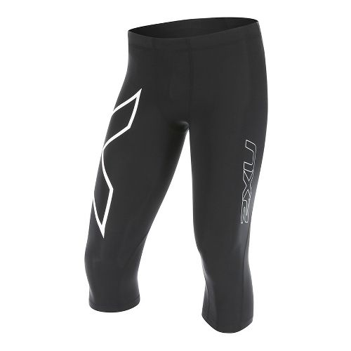 Mens 2XU 3/4 Compression Tights Capris Pants - Black/White M-R