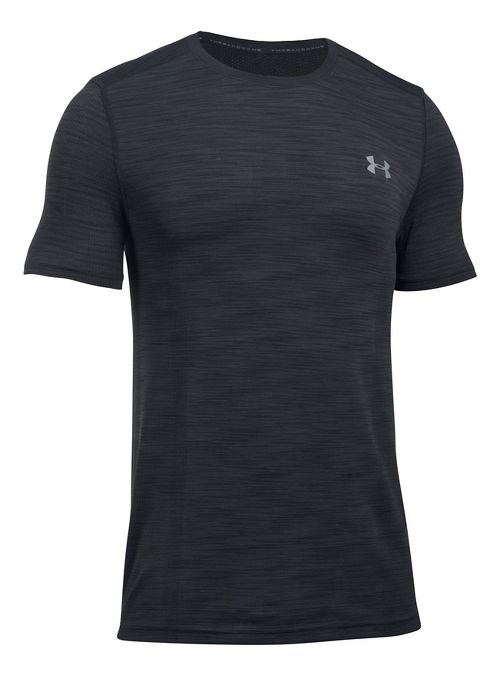 Mens Under Armour Threadborne Seamless Short Sleeve Technical Tops - Black/Graphite XL