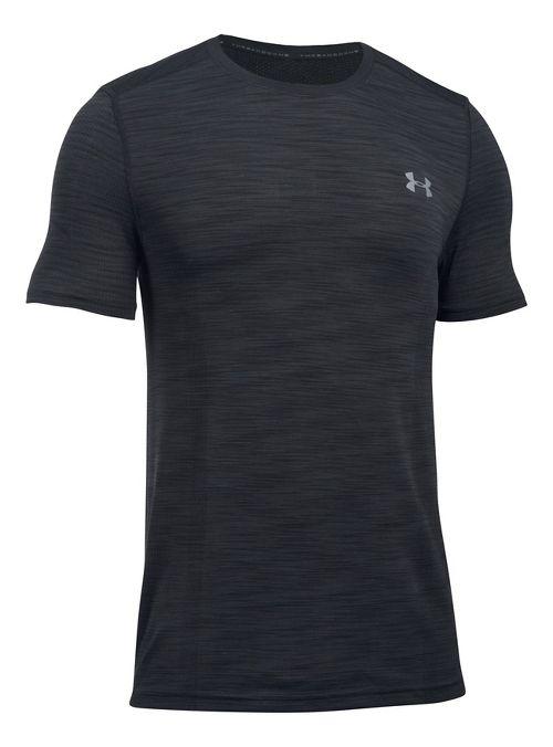 Mens Under Armour Threadborne Seamless Short Sleeve Technical Tops - Black/Graphite XL