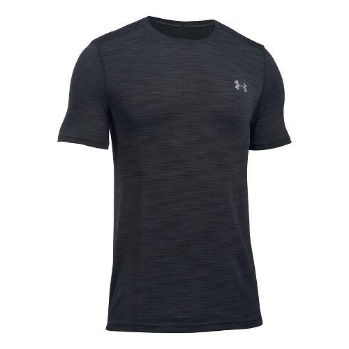 Mens Under Armour Threadborne Seamless Short Sleeve Technical Tops - Black/Graphite L