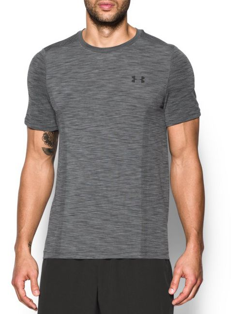 Mens Under Armour Threadborne Seamless Short Sleeve Technical Tops - Graphite/Black 3XL