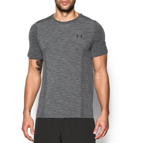 Mens Under Armour Threadborne Seamless Short Sleeve Technical Tops - Graphite/Black S