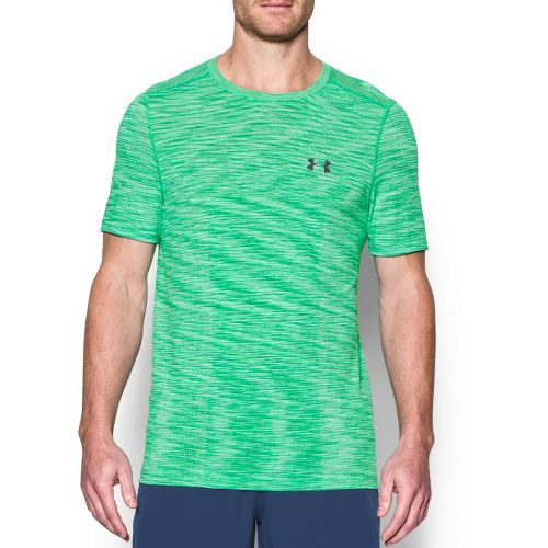 Mens Under Armour Threadborne Seamless Short Sleeve Technical Tops - Vapor Green/Grey L