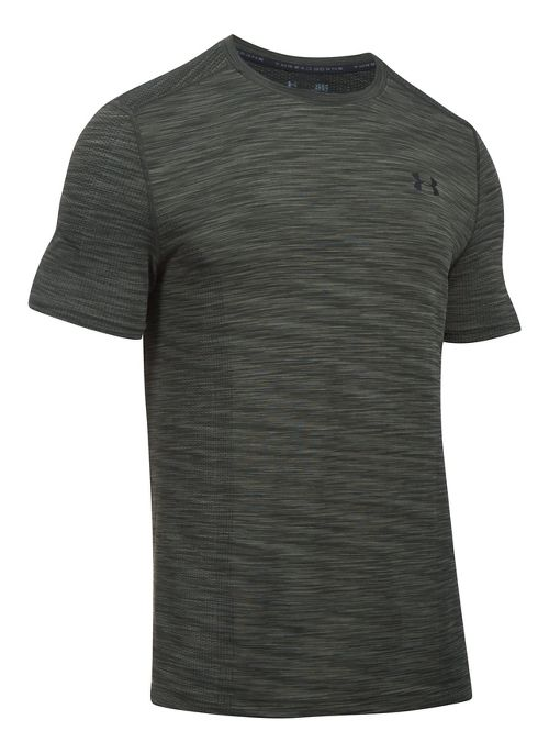 Mens Under Armour Threadborne Seamless Short Sleeve Technical Tops - Downtown Green/Black 3XL