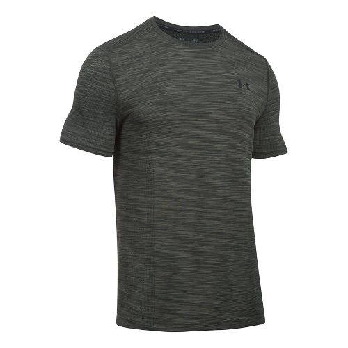 Mens Under Armour Threadborne Seamless Short Sleeve Technical Tops - Downtown Green/Black 3XL