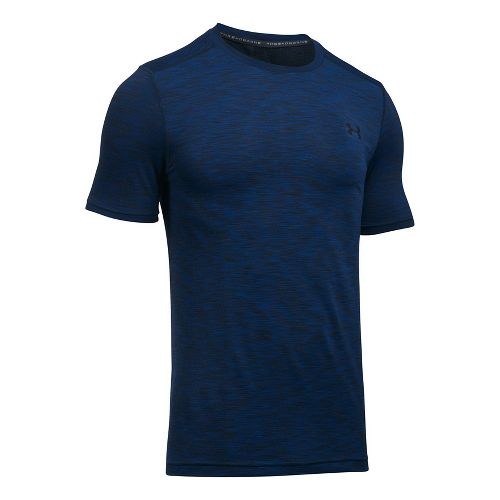Mens Under Armour Threadborne Seamless Short Sleeve Technical Tops - Royal/Black S