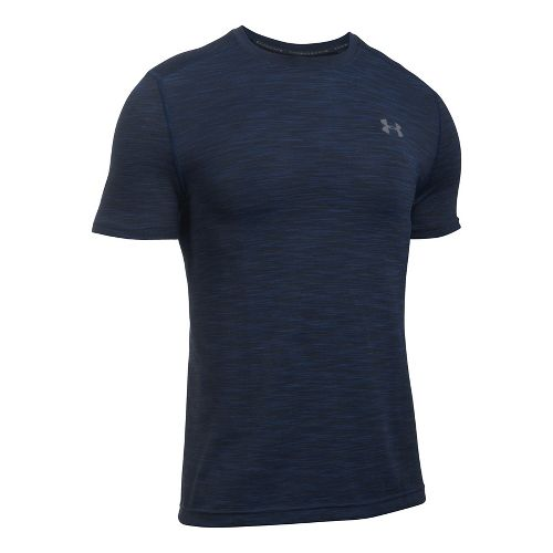 Mens Under Armour Threadborne Seamless Short Sleeve Technical Tops - Navy/Graphite L