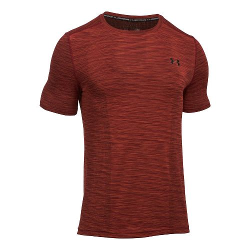 Mens Under Armour Threadborne Seamless Short Sleeve Technical Tops - Red/Back L