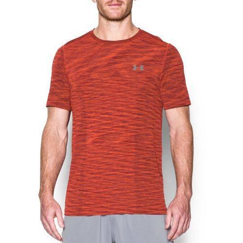 Mens Under Armour Threadborne Seamless Short Sleeve Technical Tops - Pomegranate/Graphite M