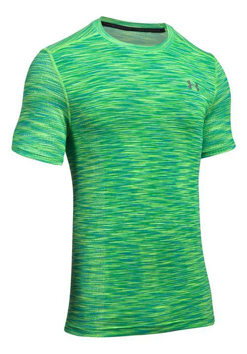 Mens Under Armour Threadborne Seamless Short Sleeve Technical Tops - Lime Twist/Graphite 3XL