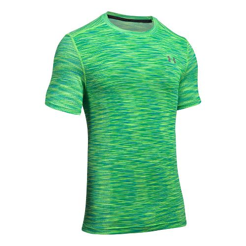 Mens Under Armour Threadborne Seamless Short Sleeve Technical Tops - Lime Twist/Graphite XXL